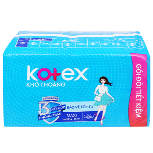 Băng vệ sinh Kotex khô thoáng Maxi cánh 16 miếng