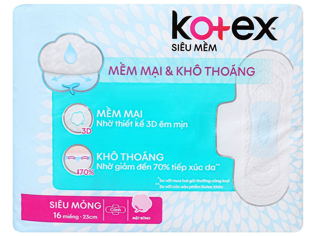Băng vệ sinh Kotex siêu mềm siêu mỏng cánh 16 miếng 2