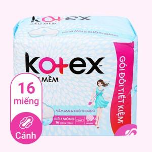 Băng vệ sinh Kotex siêu mềm siêu mỏng cánh 16 miếng