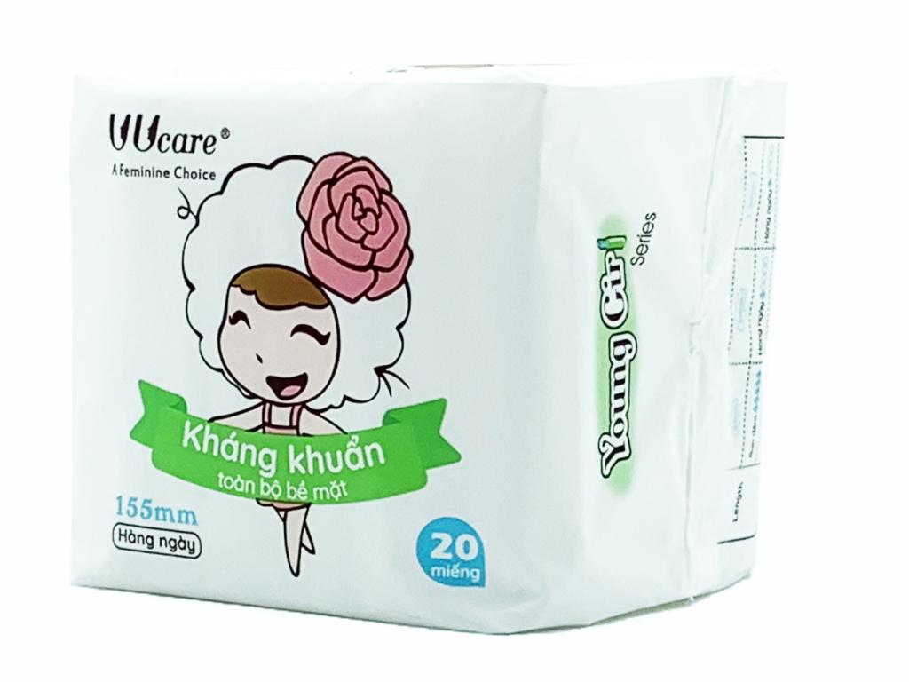 Băng vệ sinh hàng ngày Uucare Young Girl kháng khuẩn 20 miếng 15.5cm 3