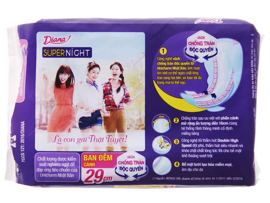 Băng vệ sinh ban đêm Diana Super Night chống tràn 4 miếng 29cm 3