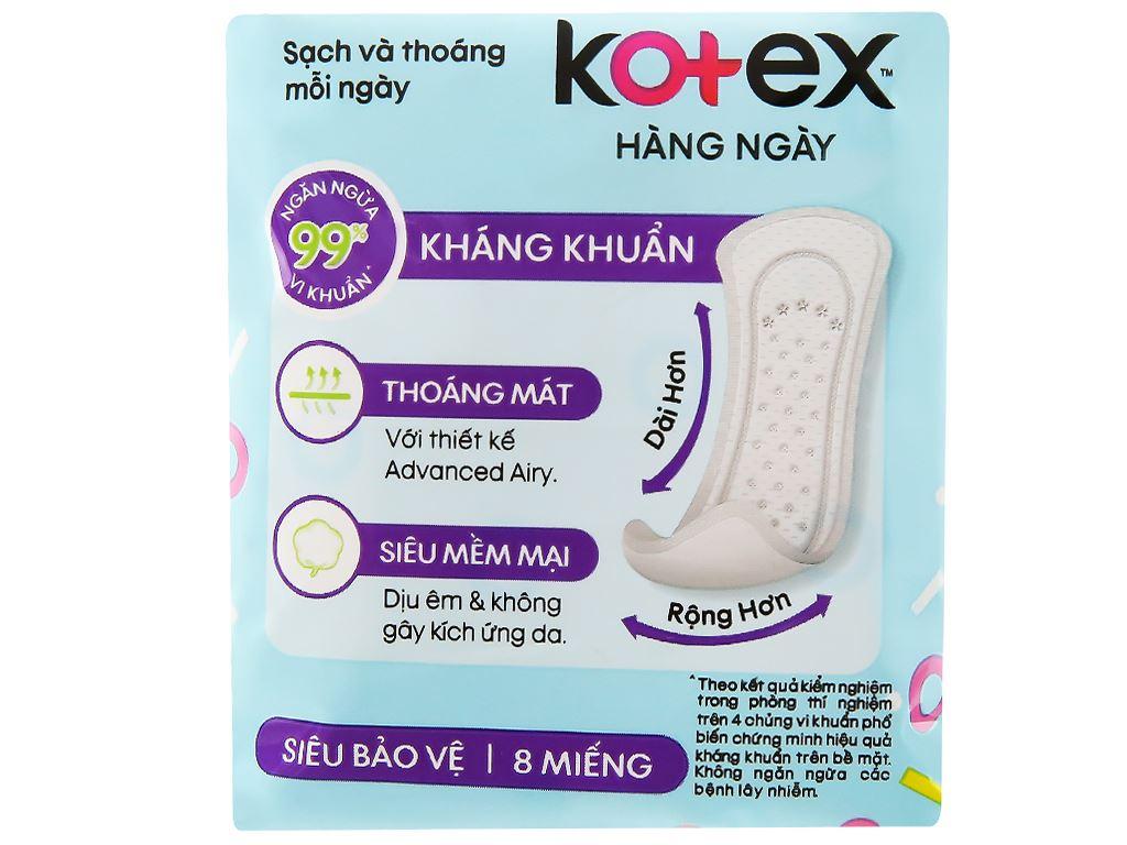 Băng vệ sinh hàng ngày Kotex siêu mềm siêu bảo vệ 8 miếng 7