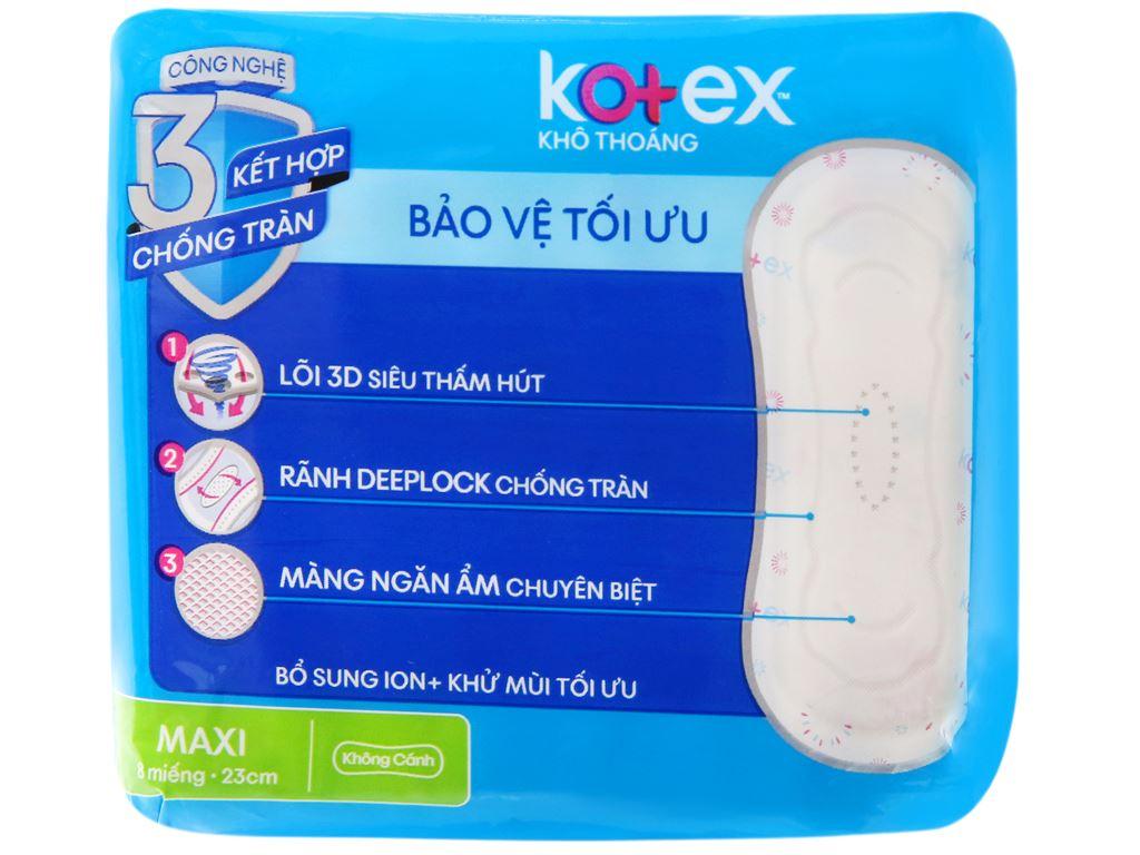 Băng vệ sinh Kotex khô thoáng Maxi không cánh 8 miếng 7