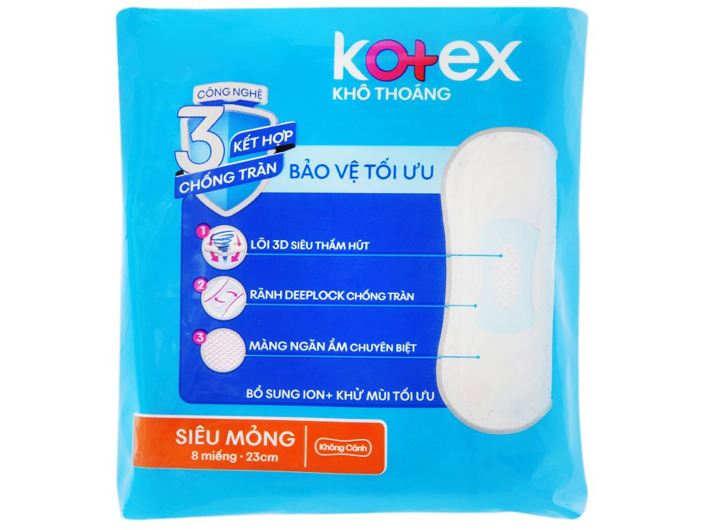 Băng vệ sinh Kotex khô thoáng siêu mỏng không cánh 8 miếng 7