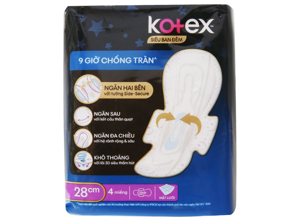 Băng vệ sinh ban đêm Kotex Style chống tràn 4 miếng 6