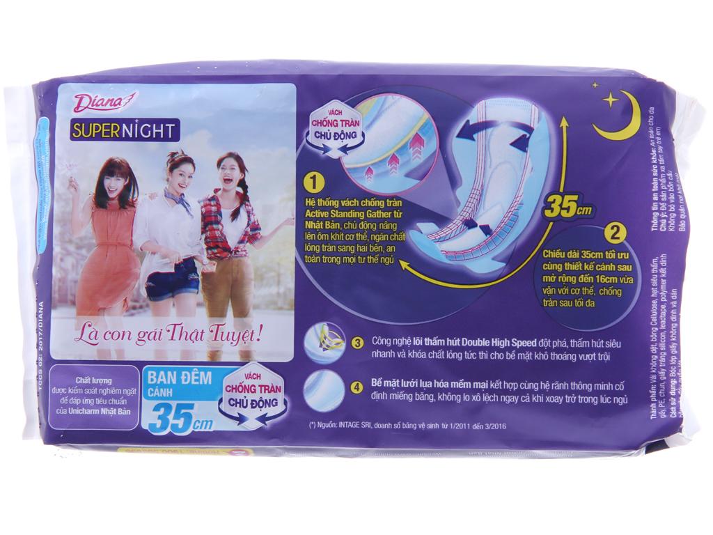 Băng vệ sinh ban đêm Diana Super Night chống tràn 3 miếng 35cm 3