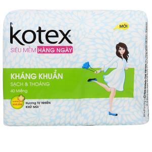 Băng vệ sinh hàng ngày Kotex siêu mềm kháng khuẩn 40 miếng