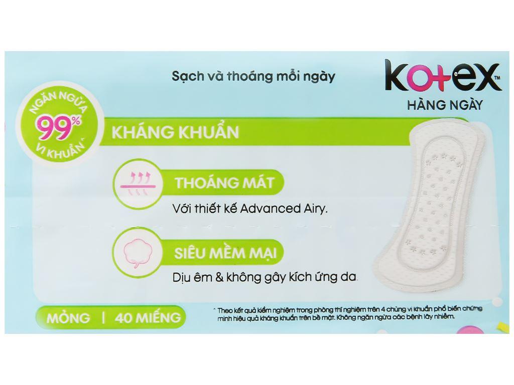 Băng vệ sinh hàng ngày Kotex siêu mềm kháng khuẩn 40 miếng 10