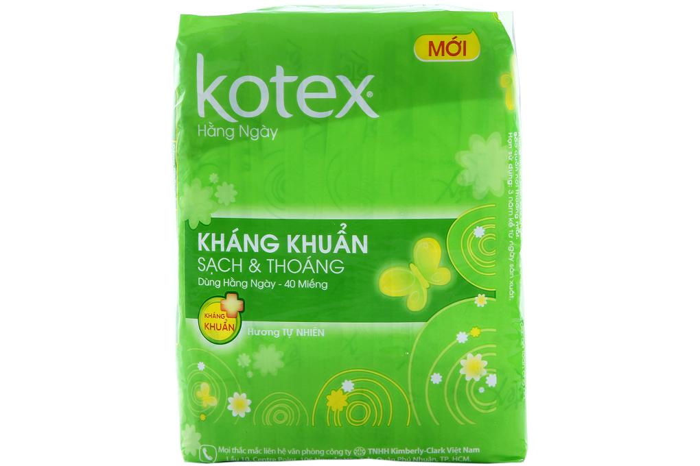 BVS hàng ngày Kotex không cánh kháng khuẩn 40 miếng
