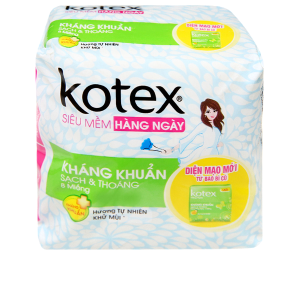 Băng vệ sinh hàng ngày Kotex siêu mềm kháng khuẩn 8 miếng