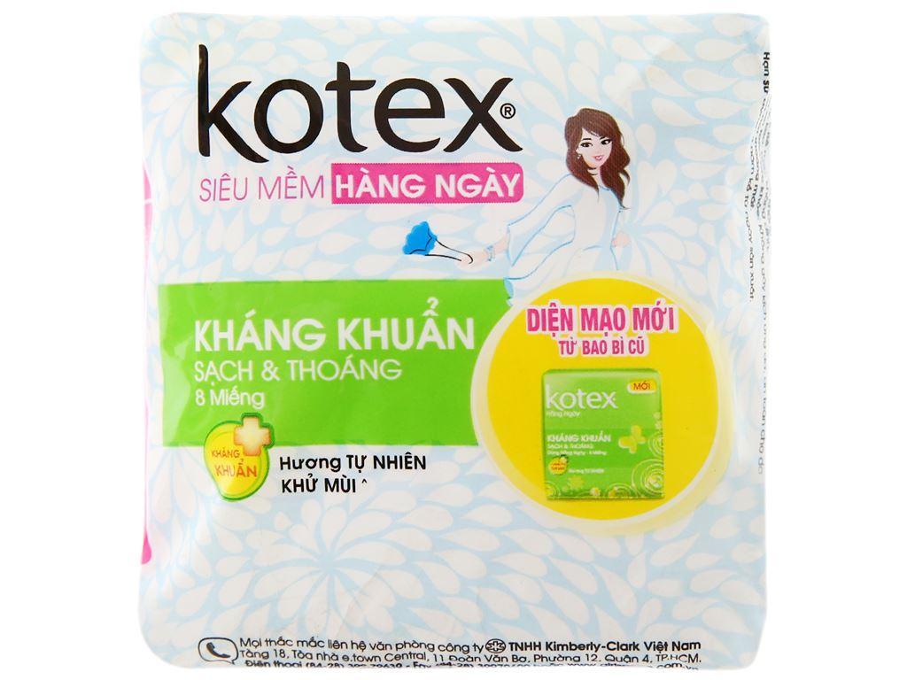 Băng vệ sinh hàng ngày Kotex siêu mềm kháng khuẩn 8 miếng 6