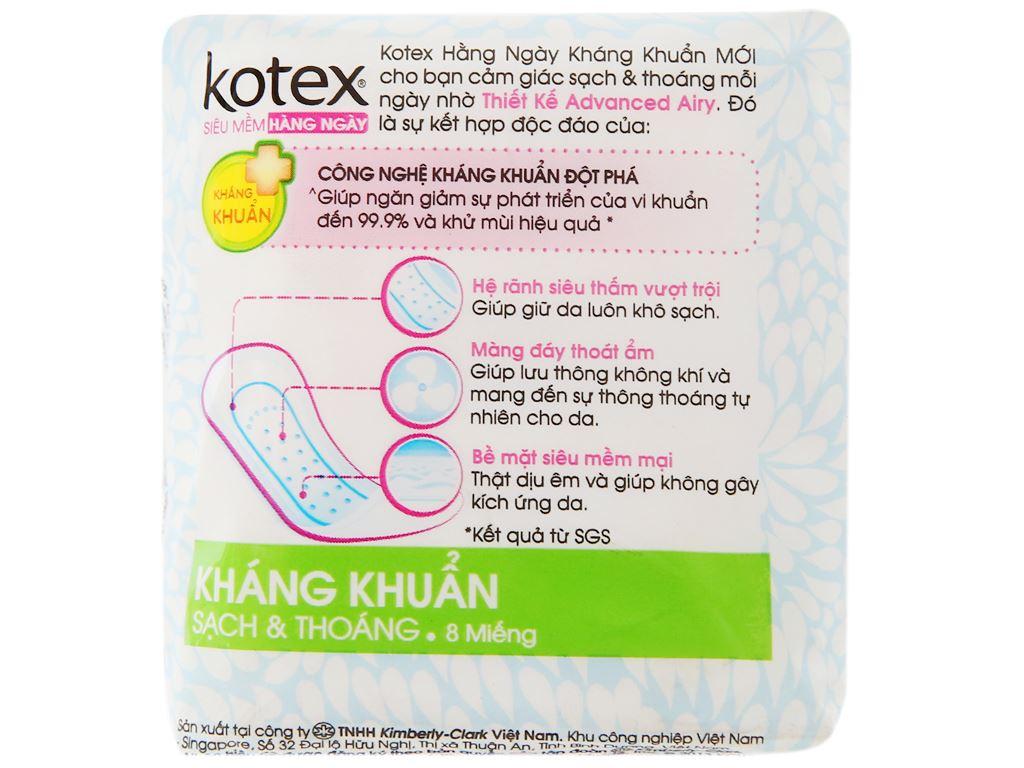 Băng vệ sinh hàng ngày Kotex siêu mềm kháng khuẩn 8 miếng 7
