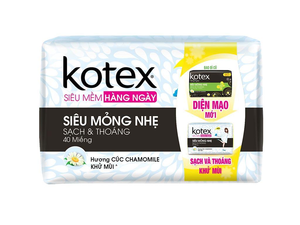 Băng vệ sinh hằng ngày Kotex siêu mềm siêu mỏng không cánh 40 miếng 2