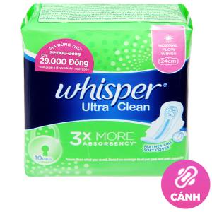 Băng vệ sinh Whisper Ultra Clean siêu thấm có cánh 10 miếng