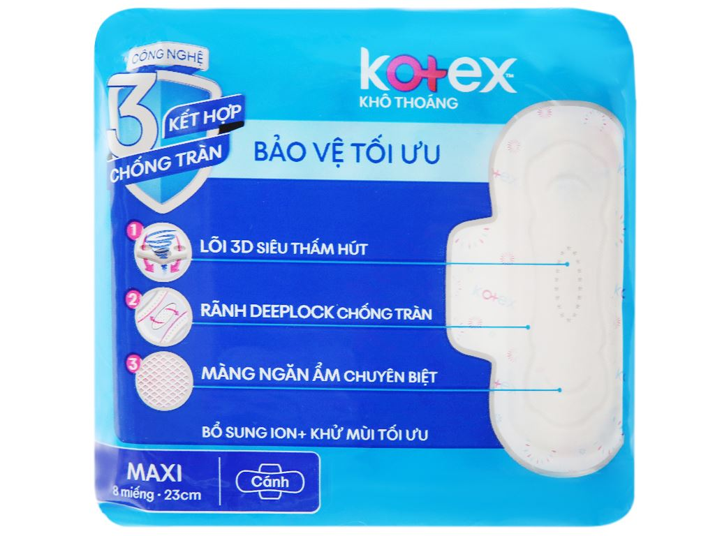 Băng vệ sinh Kotex khô thoáng Maxi cánh 8 miếng 7