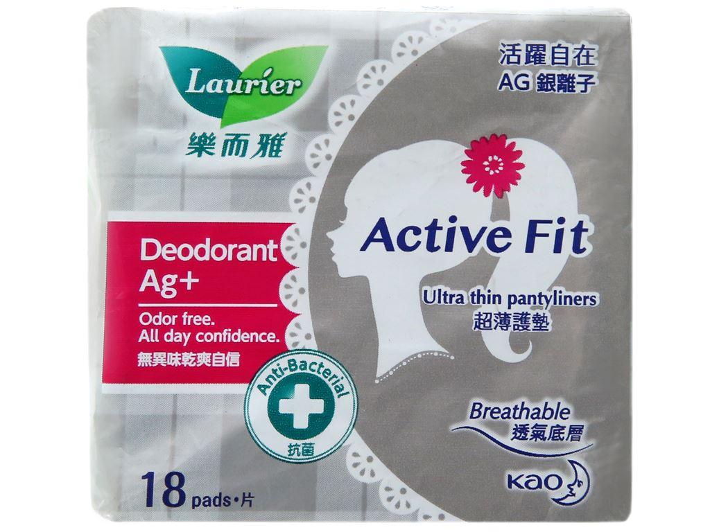 Băng vệ sinh hàng ngày Laurier Active Fit khử mùi kháng khuẩn 18 miếng 4