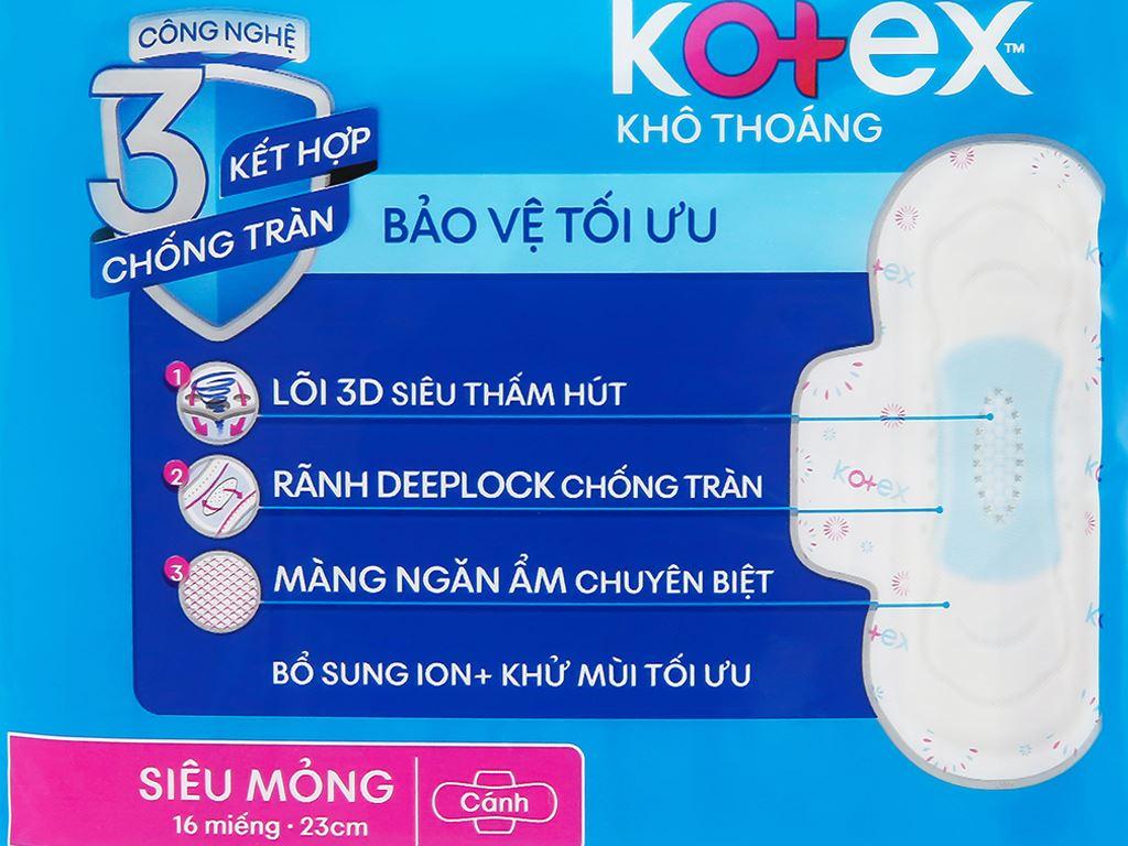 Băng vệ sinh Kotex khô thoáng siêu mỏng cánh 16 miếng 10
