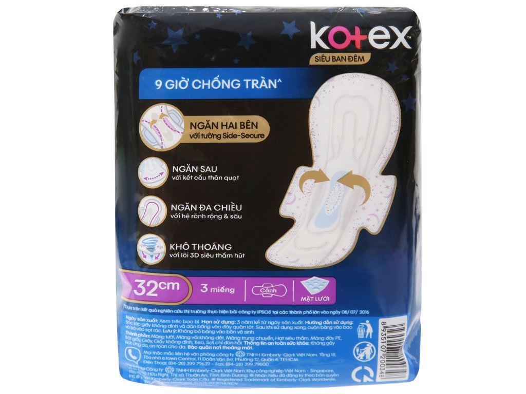 Băng vệ sinh ban đêm Kotex Style khô thoáng siêu mỏng 3 miếng 32cm 6