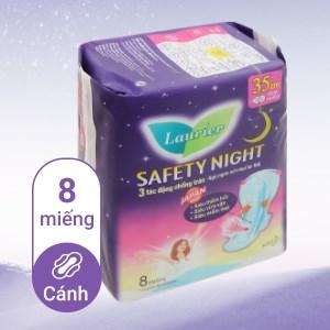 Băng vệ sinh ban đêm Laurier Safety Night siêu an toàn 8 miếng 35cm