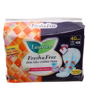 Băng vệ sinh ban đêm Laurier Fresh and Free siêu chống tràn 8 miếng 40cm