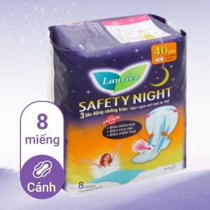 Băng vệ sinh ban đêm Laurier Safety Night siêu an toàn 8 miếng 40cm