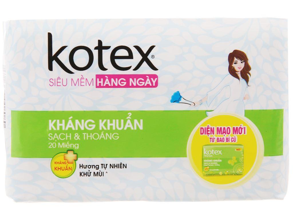 Băng vệ sinh hàng ngày Kotex siêu mềm kháng khuẩn 20 miếng 2