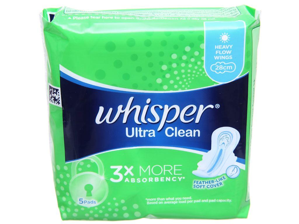 Băng vệ sinh Whisper Ultra Clean có cánh 5 miếng 3