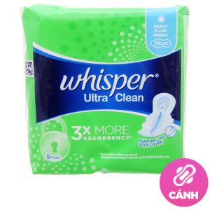 Băng vệ sinh Whisper Ultra Clean siêu thấm có cánh 5 miếng