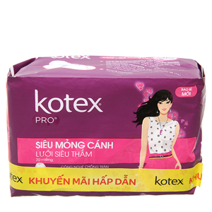 Băng vệ sinh Kotex Pro siêu mỏng có cánh 20 miếng