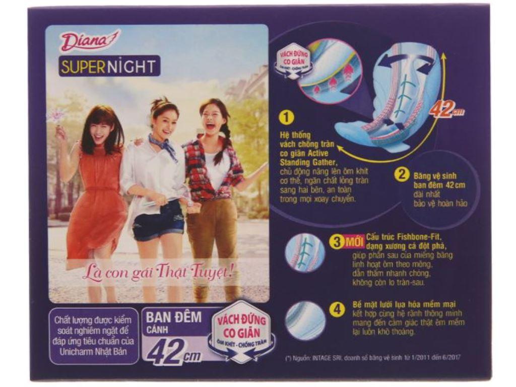 Băng vệ sinh ban đêm Diana Super Night chống tràn 3 miếng 42cm 2