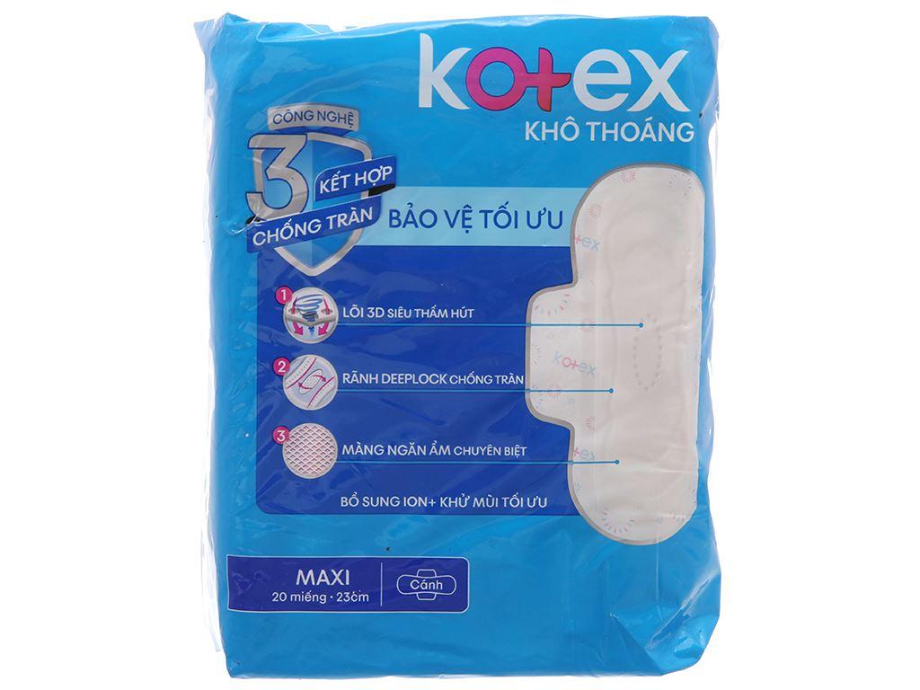 Băng vệ sinh Kotex khô thoáng Maxi cánh 20 miếng 2