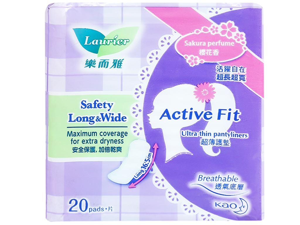 Băng vệ sinh hàng ngày Laurier Active Fit siêu thấm có hương 20 miếng 10