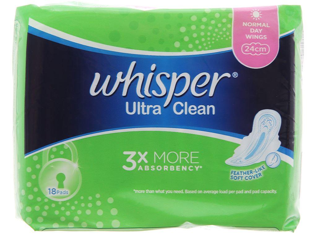 Băng vệ sinh Whisper Ultra Clean siêu thấm có cánh 18 miếng 2