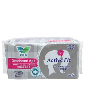 Băng vệ sinh hằng ngày Laurier Active Fit kháng khuẩn không cánh 36 miếng