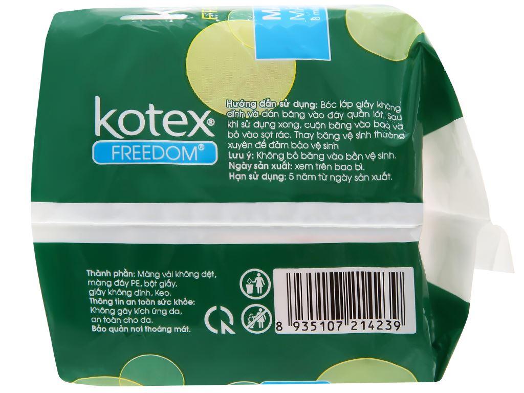 Băng vệ sinh Kotex Freedom chống tràn có cánh 8 miếng 10