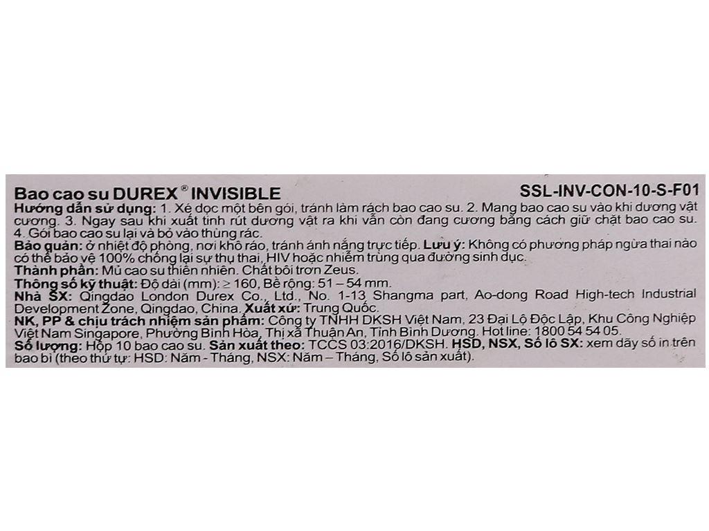 Hộp 10 cái bao cao su Durex Invisible 52mm 6