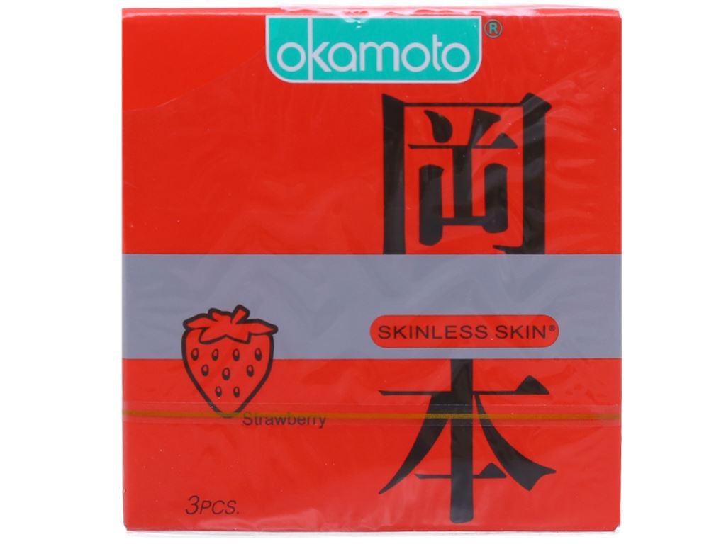 Hộp 3 cái bao cao su Okamoto Skinless Skin Strawberry 53mm 1