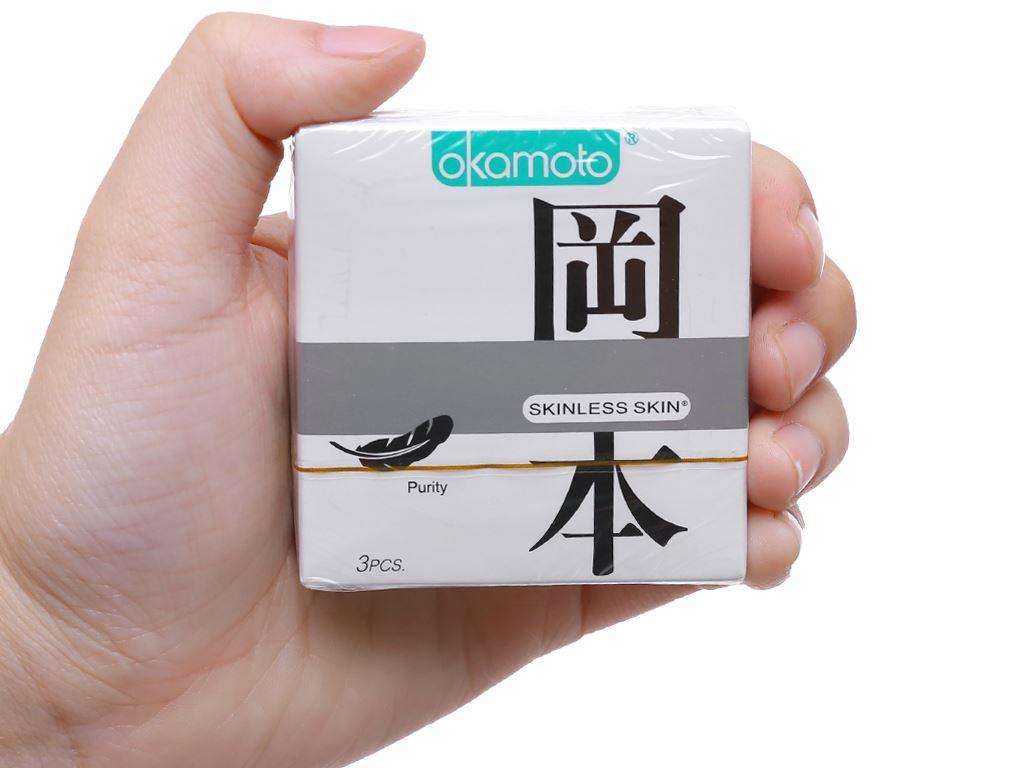 Hộp 3 cái bao cao su Okamoto Skinless Skin Purity 53mm 4