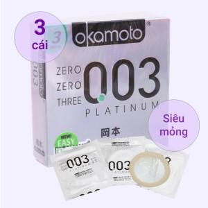 Hộp 3 cái bao cao su Okamoto 0.03 Platinum 52mm