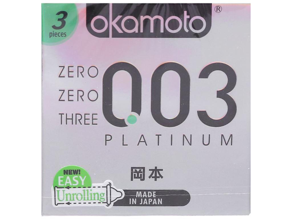 Hộp 3 cái bao cao su Okamoto 0.03 Platinum 52mm 1