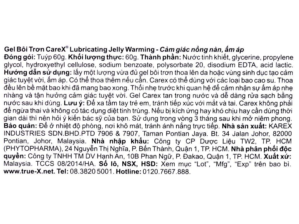 Gel bôi trơn CareX Lubricating Jelly Warming nồng nàn ấm áp 60g 4