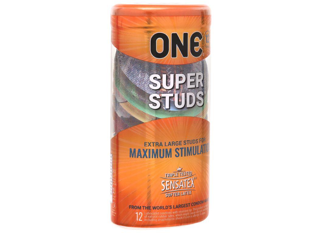 Hộp 12 cái bao cao su One Super Studs 53mm 1