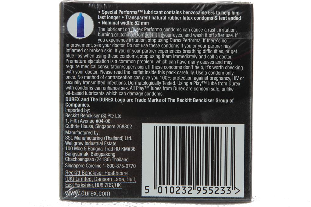 Bao cao su Durex Performa 52mm hộp 3 cái