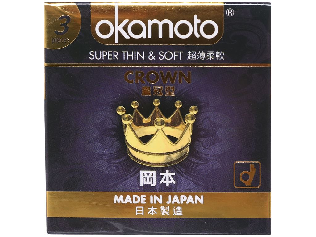 Hộp 3 cái bao cao su Okamoto Crown siêu mỏng 52mm 1