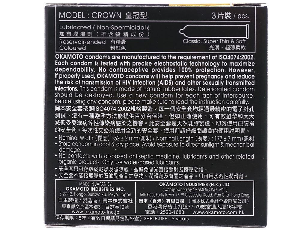 Hộp 3 cái bao cao su Okamoto Crown siêu mềm mỏng 52mm 2