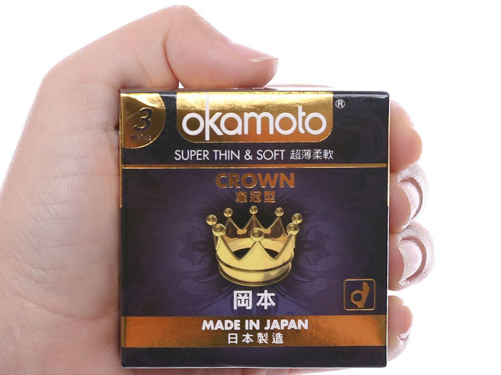 Hộp 3 cái bao cao su Okamoto Crown siêu mỏng 52mm 4