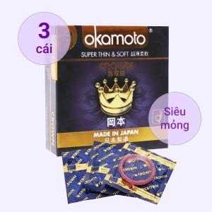 Hộp 3 cái bao cao su Okamoto Crown siêu mỏng 52mm