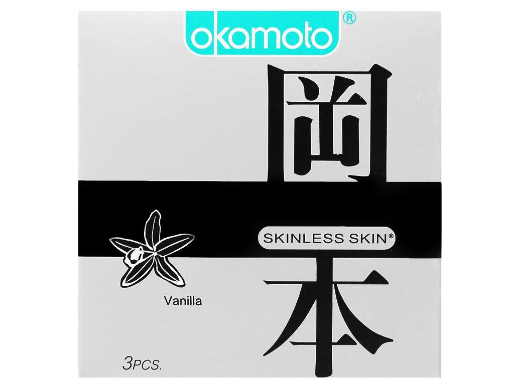 Hộp 3 cái bao cao su Okamoto Skinless Skin hương vani 53mm 1