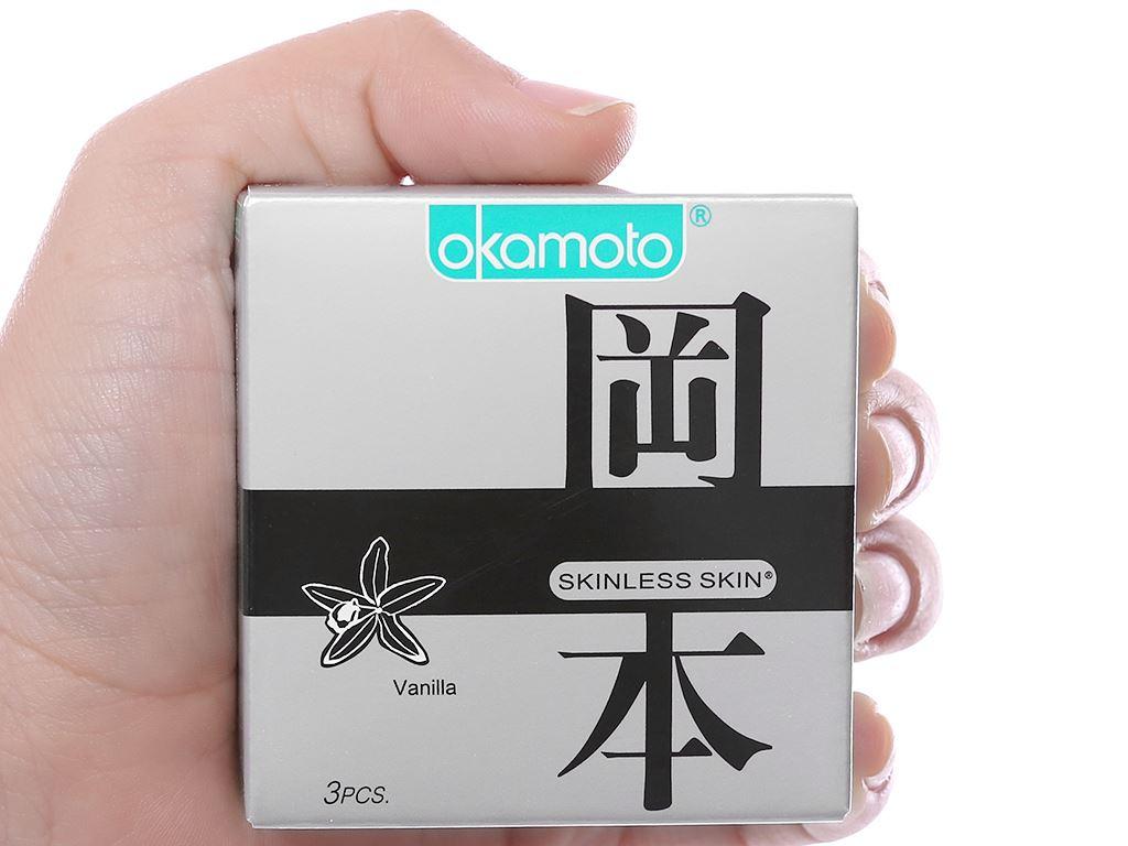 Hộp 3 cái bao cao su Okamoto Skinless Skin hương vani 53mm 3