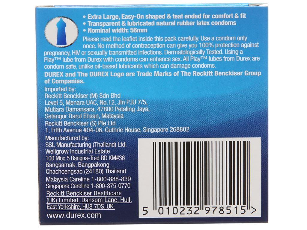 Hộp 3 cái bao cao su Durex Comfort không mùi 56mm 3